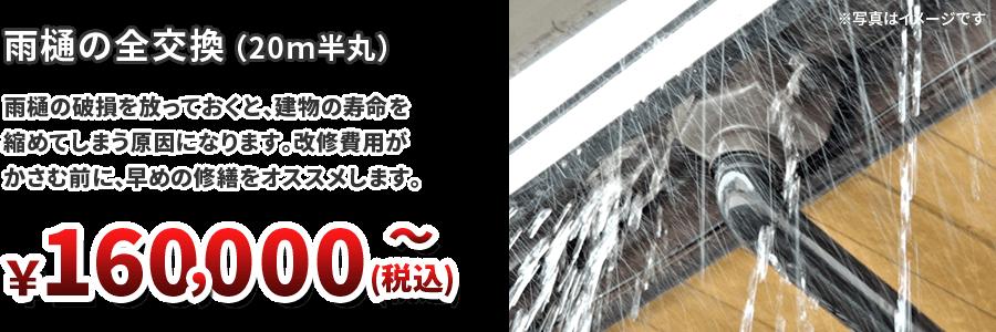 雨樋の全交換(20m半丸) ¥160,000~(税込)